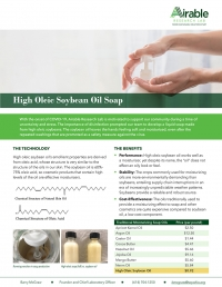 High Oleic Soybean Oil Soap: leaves hands feeling soft and moisturized, even after the repeated washings that are promoted as a safety measure against coronavirus